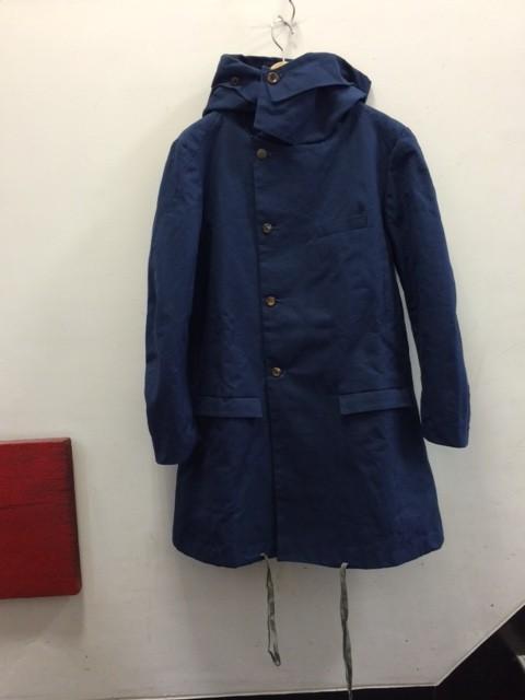 FRANK LEDER/Blue Waxed Cotton Hoody Coat