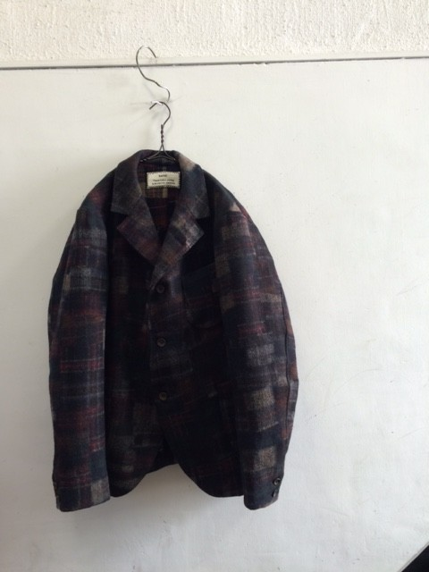 "kaval/Basic Tailored Jacket ""wool check patchwork needle"""