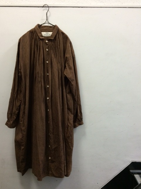 "kaval/B&S Special Front Open Gather Blouse ""Kakishibu dyed"""