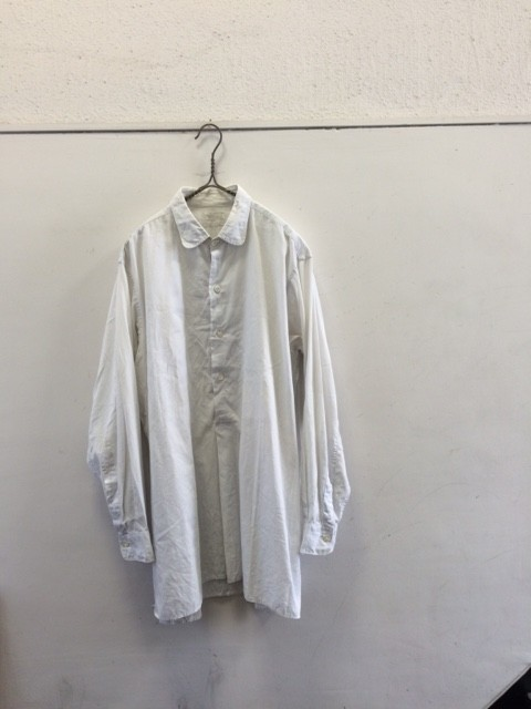 "1940~50's Vintage French Grandfather Shirt ""Patched"""