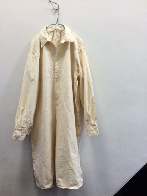 "1950's Vintage Italian Cotton Linen Long Shirt ""HM"""