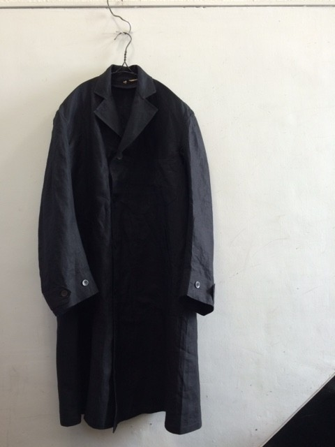 1930~40's Deadstock French Black Linen Coat