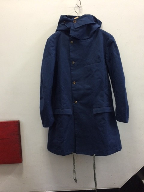 FRANK LEDER/Blue Waxed Cotton Hoody Coat