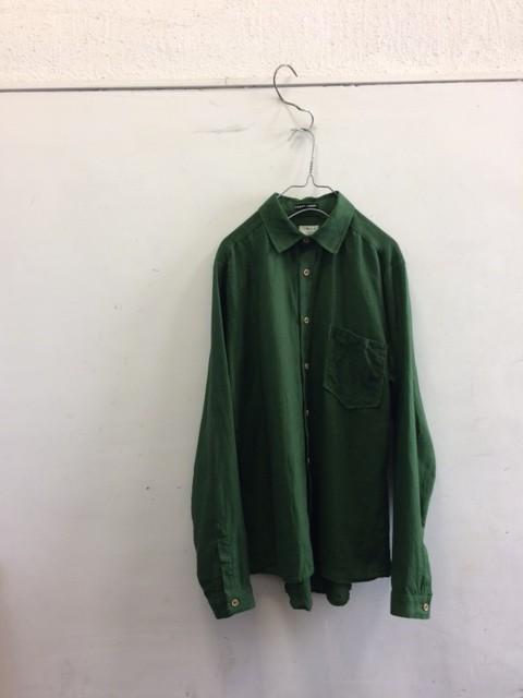 Frank Leder/Green Inked Linen Shirt